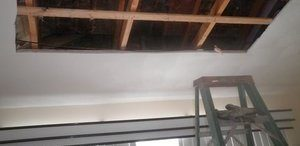 Ceiling Remediation Job After Upstairs Leak Caused Water Damage and Mold
