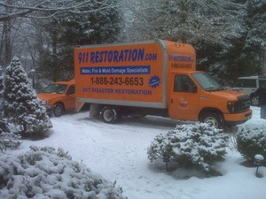 Water Damage Enfield Truck At Winter Job Location